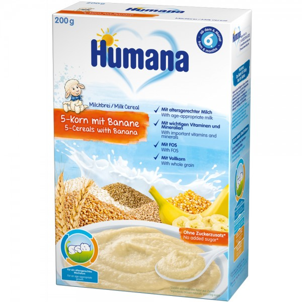 Cereale Humana cu 5 cereale si banane de la 6 luni 200 g
