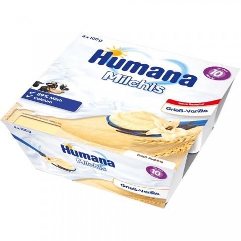 Budinca Humana de gris cu vanilie de la 10 luni 4x100 g