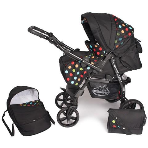 Carucior Hubners Tessa Lux 2 in 1 negru cu buline colorate