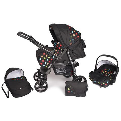 Carucior Hubners Tessa Lux 3 in 1 negru cu buline colorate