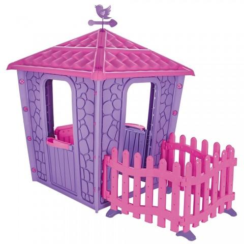 Casuta cu gard pentru copii Pilsan Stone House with Fence purple