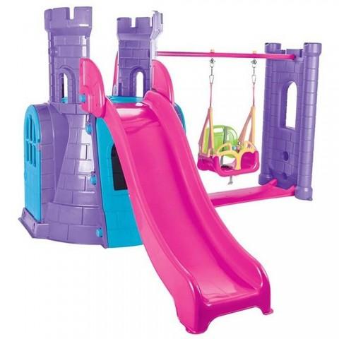 Centru de joaca Pilsan Castle Slide and Swing Set purple