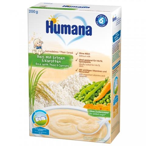Cereale Humana fara lapte cu morcov si mazare de la 6 luni 200 g