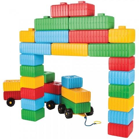 Jucarie Pilsan Cuburi de construit Brick Blocks and Car Set 43 piese