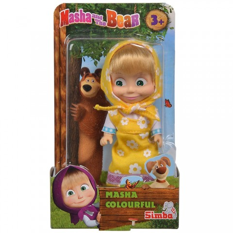 Papusa Simba Masha and the Bear 12 cm Masha in rochie galben