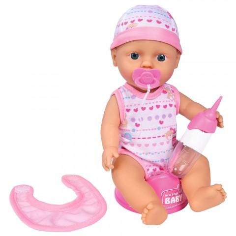 Papusa Simba New Born Baby 30 cm Bebe Darling cu olita si bavetica roz deschis