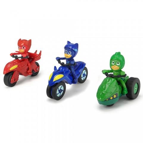 Set Dickie Toys 3 Motociclete Eroi in Pijama cu 3 figurine