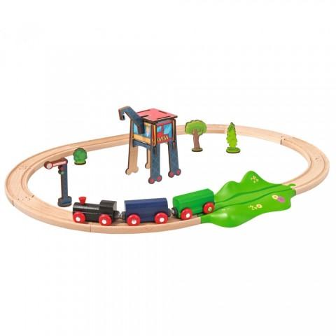 Set din lemn Eichhorn Tren cu sina ovala si accesorii