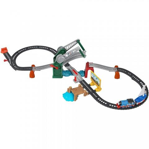 Set Fisher Price by Mattel Thomas and Friends Bridge Lift Thomas and Skiff cu sina, locomotiva motorizata si vagon