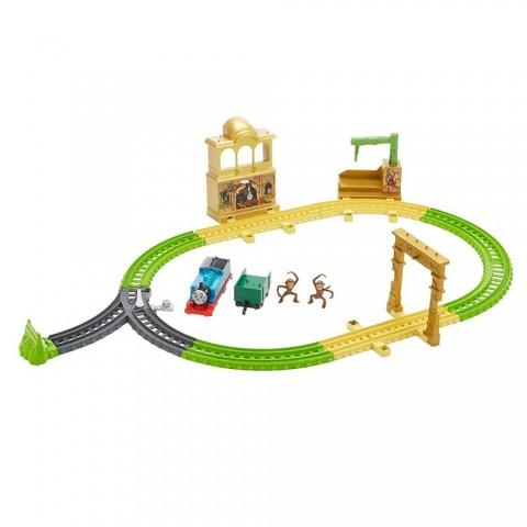 Set Fisher Price by Mattel Thomas and Friends Monkey Palace cu sina, vagoane si locomotiva motorizata