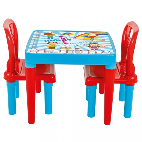 Set Masuta cu 2 scaune pentru copii Pilsan Hobby Study Table blue