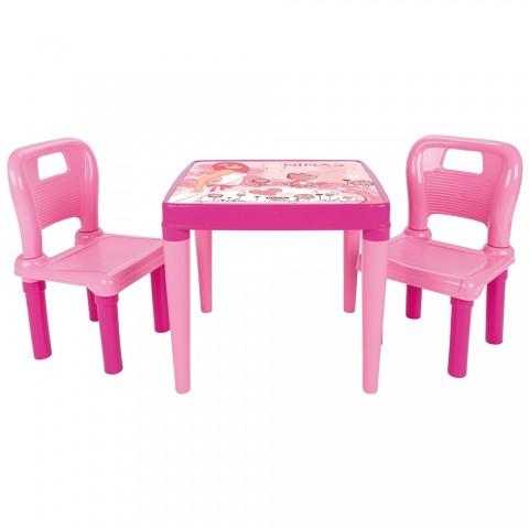 Set Masuta cu 2 scaune pentru copii Pilsan Hobby Study Table pink