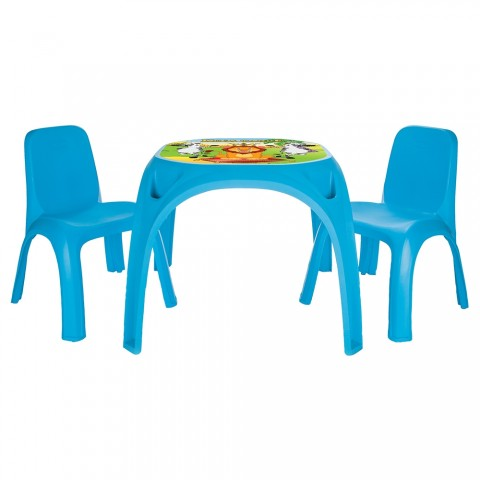 Set Masuta cu 2 scaune pentru copii Pilsan King Table blue
