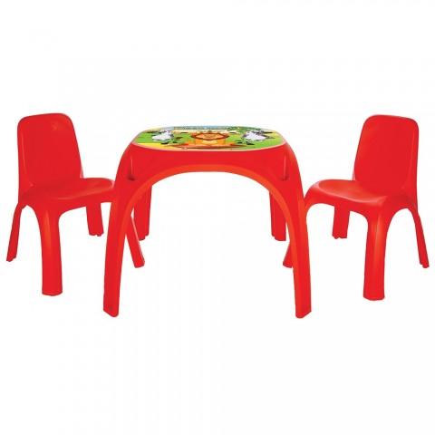 Set Masuta cu 2 scaune pentru copii Pilsan King Table red