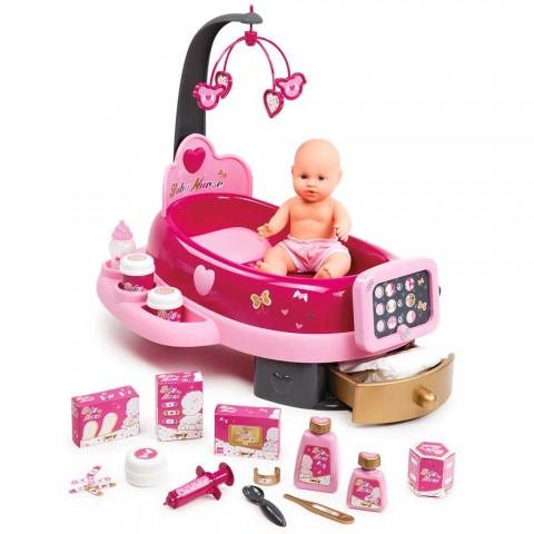 Set cadita si accesorii pentru papusi Smoby Baby Nurse Nursery roz